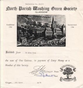 North Parish Washing Green Society Membership Certificate